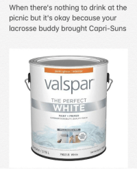 "Meme, Lacrosse, and Okay: When there's nothing to drink at the  picnic but it's okay because your  lacrosse buddy brought Capri-Suns  semi-gloss interior  valspar  THE PERFECT  WHITE  PAINT+PRIMER  SUPERIOR DURABILITY, QUALITY FINISH  WALLS, DOORS & TRIM  WHITE  on/3.78L  Semibri  790218 White <p>Variation of the ""Whitest Whites"" meme. Should I invest? via /r/MemeEconomy <a href=""https://ift.tt/2K6iKtl"">https://ift.tt/2K6iKtl</a></p>"