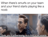 Dude, Wizards, and Smurfs: When there's smurfs on your team  and your friend starts playing like a  noob  Dude, you're embarrassing me in front of the wizards.