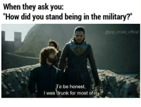 "Memes, Pop, and Military: When they ask you:  ""How did you stand being in the military?""  @pop_smoke official  To be honest,  I was""drunk for most ofite Cheers to all you still in 🍻"