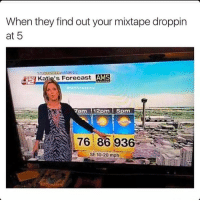 Check out my mixtape dropping soon: When they find out your mixtape droppin  at 5  AMS  Katiels Forecast  com sweaters  N 7ann 12pm 5 pm  76 86 936  SE 10-20 mph Check out my mixtape dropping soon