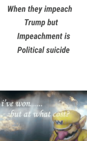 Removed: Political Shill: When they impeach  Trump but  Impeachment is  Political suicide  i've won.....  but at what cost? Removed: Political Shill
