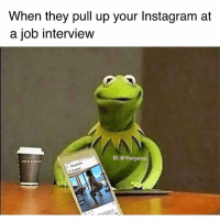 Instagram, Job Interview, and Memes: When they pull up your Instagram at  a job interview  IG: @thegainz 😅