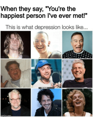 "Shiny happy people holding hands by crashdaddy MORE MEMES: When they say, ""You're the  happiest person I've ever met!""  This is what depression looks like...  THE MINDUNEEASHED  imgflip.com Shiny happy people holding hands by crashdaddy MORE MEMES"