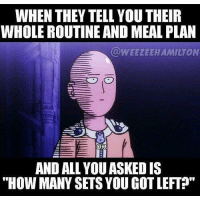 """Meal Plan, Um-Okay, and Plan: WHEN THEY TELL YOU THEIR  WHOLE ROUTINE AND MEAL PLAN  EWEEZEEHAMILTON  AND ALL YOUASKEDIS  """"HOW MANY SETS YOUGOTLEFT?"""" Um... Okay...."""