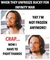 Frozen, Memes, and Avengers: WHEN THEY UNFREEZE BUCKY FOR  INFINITY WAR  YAY I'M  NOT FROZEN  ANYMORE!  CRAP..  NOWI  HAVE TO  FIGHTTHANOS  NGS That's unfortunate... buckybarnes infinitywar marvel mcu avengers