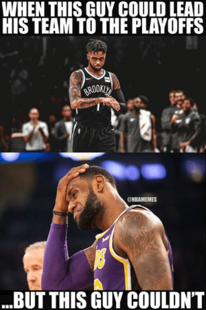 LeBron James vs. D'Angelo Russell this season.: WHEN THIS GUY COULD LEAD  HIS TEAM TO THE PLAYOFFS  @NBAMEMES  BUT THIS GUY COULDN'T LeBron James vs. D'Angelo Russell this season.
