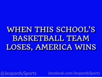 """America, Basketball, and Facebook: WHEN THIS SCHOOL'S  BASKETBALL TEAM  LOSES, AMERICA WINS  @JeopardySports facebook.com/JeopardySports """"What is: Duke University?"""" #JeopardySports #DUKEvsBC https://t.co/jJCNL8OwzG"""