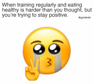 When training regularly and eating healthy is harder than you thought, but you're trying to stay positive.  Gymaholic App: https://www.gymaholic.co  #fitness #motivation #workout #gymaholic #meme: When training regularly and eating healthy is harder than you thought, but you're trying to stay positive.  Gymaholic App: https://www.gymaholic.co  #fitness #motivation #workout #gymaholic #meme