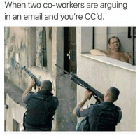 @stupidresumes posts the funniest work memes: When two co-workers are arguing  in an email and you're CC'd @stupidresumes posts the funniest work memes