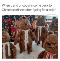 "Nice: When u and ur cousins come back to  Christmas dinner after ""going for a walk""  @cabbagecatmemes  McDor Nice"