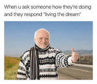"""Memes, Live, and Living: When u ask someone how they're doing  and they respond """"living the dream"""" Well live ur freaken dream away from me"""