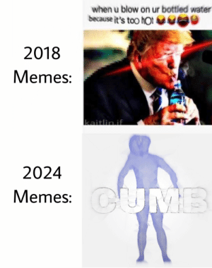Future looks bright 😎: when u blow on ur bottled water  because it's too hot  2018  Memes:  2024  Memes: Future looks bright 😎