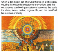 Non Existent Existentialist, Essentials, and Ontology: when u don't exist but The One throws in a little extra,  causing Its essential substance to overflow, and this  extraneous overflowing substance becomes the basis  for ideas, forms, matter, organic life, and the manifold  hierarchies of reality One-derful Ontological Meme