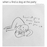 """Dancing, Memes, and Smoking: when u find a dog at the party  @Dr Smashlove  h o w's it goin  down  are you Me: """"LET'S DANCE ON THE COUCHES BIH WOO!"""" Also me: *arrives at party, beelines for the marijuana, surreptitiously smokes a joint by myself, finds cat or pupper, ignores everyone else* 😂😂😂"""