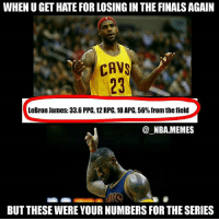 Cavs, Finals, and Friends: WHEN U GET HATE FOR LOSING INTHE FINALS AGAIN  CAVS  LeBron James: 33.6 PPG, 12RPG, 10APG, 56% from the field  NBA MEMES  BUT THESE WERE YOUR NUMBERS FOR THE SERIES Fr 😤😂 I'm gonna be honest...3-5 isn't a good Finals record but how many other people can say they've made it to 8 Finals? (only 12) & how many people can say they've averaged a triple double in a Finals series besides LeBron? (0) 👀💯 Does this years' Finals loss affect Lebron's legacy in a major negative way?? Comment below 👌 Double tap and tag some friends below! 👍⬇
