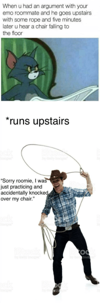 "Emo, Roommate, and Sorry: When u had an argument with your  emo roommate and he goes upstairs  with some rope and five minutes  later u hear a chair falling to  the floor  runs upstairs  ""Sorry roomie, I was  just practicing and  accidentally knocke  over my chair.  Ima  ips <p>Honest mistake.</p>"
