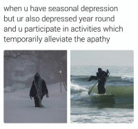 Memes, Apathy, and 🤖: when u have seasonal depression  but ur also depressed year round  and u participate in activities which  temporarily alleviate the apathy