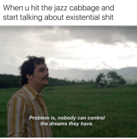 Funny, Existentialism, and Jazz: When u hit the jazz cabbage and  start talking about existential shit  mooistbuddh  Problem is, nobody can control  the dreams they have. Maybe bc we're just little particles trapped in the test tube of an alien's high school science experiment 🤔
