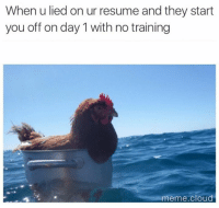 Bruh. Still make dat money doe.: When u lied on ur resume and they start  you off on day 1 with no training  meme Cloud Bruh. Still make dat money doe.