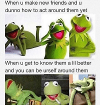 Friends, Funny, and Fuck: When u make new friends and u  dunno how to act around them yet  When u get to know them a lil better  and you can be urself around them Fuck The accuracy