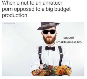 Budget, Business, and Porn: When u nut to an amatuer  porn opposed to a big budget  production  dougglehouse  support  small business bro meirl