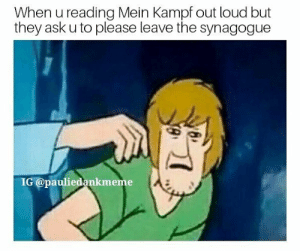 Dank, Memes, and Reddit: When u reading Mein Kampf out loud but  they ask u to please leave the synagogue  IG @pauliedankmeme Is it because im christian??? by Kebab_Remover1999 FOLLOW 4 MORE MEMES.