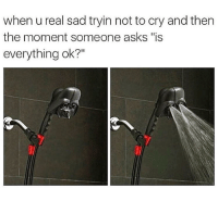 """Memes, Http, and Sad: when u real sad tryin not to cry and then  the moment someone asks """"is  everything ok?"""" <p>Trying not to cry via /r/memes <a href=""""http://ift.tt/2G3HtME"""">http://ift.tt/2G3HtME</a></p>"""