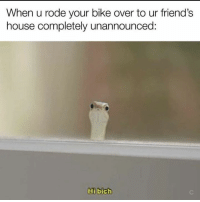 Friends, Memes, and House: When u rode your bike over to ur friend's  house completely unannounced:  Hi bich Snap: dankmemesgang 👻