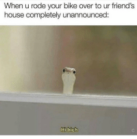 Friends, Instagram, and Meme: When u rode your bike over to ur friend's  house completely unannounced:  Hi bich @idek is the funniest meme page on Instagram😂