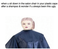 Memes, Ugly, and Salon: when u sit down in the salon chair in your plastic cape  after a shampoo & wonder if u always been this ugly AAAAAAAAAAAAAAAAAAAA