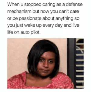 meirl by farrukhsshah MORE MEMES: When u stopped caring as a defense  mechanism but now you can't care  or be passionate about anything so  you just wake up every day and live  life on auto pilot meirl by farrukhsshah MORE MEMES