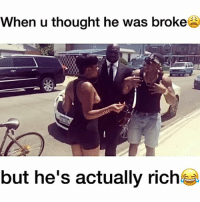 Be Like, Driving, and Good for You: When u thought he was broke  but he's actually riche Gold diggers be like stay in your lane, I'm too good for you 😂😂😂: when u thought he was driving a bicycle but he actually owns a Bentley but u already played him so now it's too late DON'T BE THAT GIRL 😩 Featuring; @travque @danieljean56 Music: bodakyellow by @iamcardib tagafriend balleralert theshaderoom thecutlife hoodclips urban viral worldstar wshh cardib rihanna kingbach kimkardashian nickiminaj kanyewest robkardashian breakfastclub hollywoodunlocked meekmill frenchmontana tbt kyliejenner travisscott chrisbrown kodakblack jayz djkhaled blacchyna hilarious