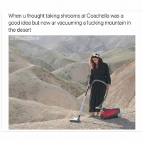 Coachella, Fucking, and Fuck: When u thought taking shrooms at Coachella was a  good idea but now ur vacuuming a fucking mountain in  the desert  Shitheadsteve It happens