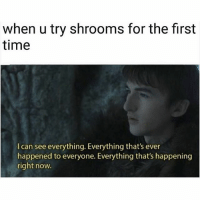 Memes, Time, and 🤖: when u try shrooms for the first  time  I can see everything. Everything that's ever  happened to everyone. Everything that's happening  right now. Who this? 🙂