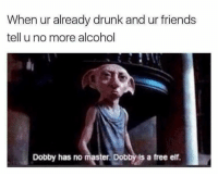 Dobby Has No Master: When ur already drunk and ur friends  tell u no more alcohol  Dobby has no master. Dobby is a free elf.