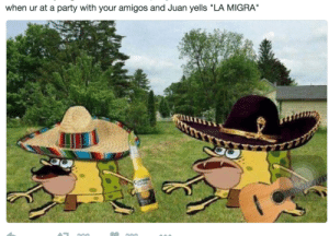 """Party, Run, and Juan: when ur at a party with your amigos and Juan yells """"LA MIGRA run!"""