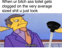 Ass, Be Like, and Bitch: When  ur  bitch  ass  toilet  gets  clogged on the very average  sized shit u just took  Pathetic It do be like that sometimes