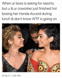 Bruh, Drake, and Funny: When ur boss is asking for reports,  but u & ur coworker just finished hot  boxina her Honda Accord during  lunch & don't know WTF is going on  G Taxo  8/16/17, 1:06 PM Tag someone that's been known to hot boss a Honda Accord - - *follow @_taxo_ * - - funnymemes lol lmao bruh petty picoftheday funnyshit thestruggle truth hilarious savage 🙌🏽 kimkardashian drake dead dying funny rotfl savagery 😂 funnyAF InstaComedy ThugLife vanessahudgens SarahHyland