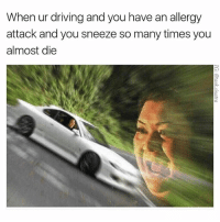 Driving, Funny, and Jesus: When ur driving and you have an allergy  attack and you sneeze so many times you  almost die Jesus take the wheel