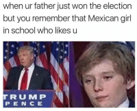 Memes, Mexican, and 🤖: when ur father just won the election  but you remember that Mexican girl  in school who likes u  TIR U MMP  P IE IN CE