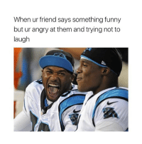 Memes, 🤖, and Trying Not to Laugh: When ur friend says something funny  but ur angry at them and trying not to  laugh Tag a friend!