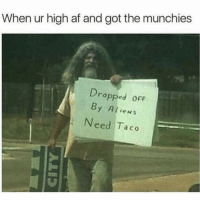 Af, Funny, and Munchies: When ur high af and got the munchies  Dro  pped ofF  By Alien:s  Need Taco Please feed me 😑