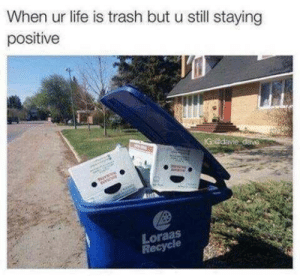 Life, Trash, and Dave: When ur life is trash but u still staying  positive  IG @davie dave  Loraas  Recycle