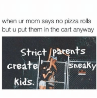 Memes, 🤖, and Pizza Rolls: when ur mom says no pizza rolls  but u put them in the cart anyway  Strict Parents  create  sneaky  Kids cbf restocking on memes