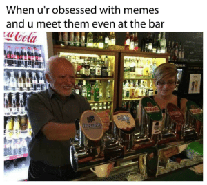 Dank, Memes, and Target: When u'r obsessed with memes  and u meet them even at the bar  oola  PALINKAK  MA  BORSODI  BORSO  PURGA  Hocgaarden Look out by no_one_cares4u MORE MEMES
