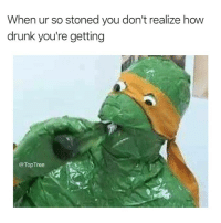 Af, Bruh, and Drunk: When ur so stoned you don't realize how  drunk you're getting  @Top Tree Michelangelo lit AF bruh 😤🔥