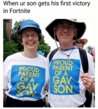 Instagram, Memes, and Mom: When ur son gets his first victory  in Fortnite  PROU  PROUDPARENT  PARENT  OF A  OF A  GAY SON  I'm not gay mom,  boxa6oowner Request @couplesnote for more 18+ sexual memes on instagram😘💦👅