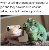 Memes, 🤖, and Job: when ur telling ur grandparents about ur  job and they have no clue what ur  talking bout but they're supportive On point