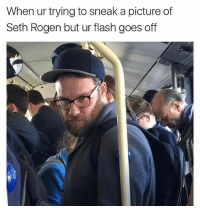 Memes, Seth Rogen, and A Picture: When ur trying to sneak a picture of  Seth Rogen but ur flash goes off 😂😂lol