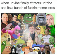 Meme, Universe, and Lords: when ur vibe finally attracts ur tribe  and its a bunch of fuckin meme lords  float universe